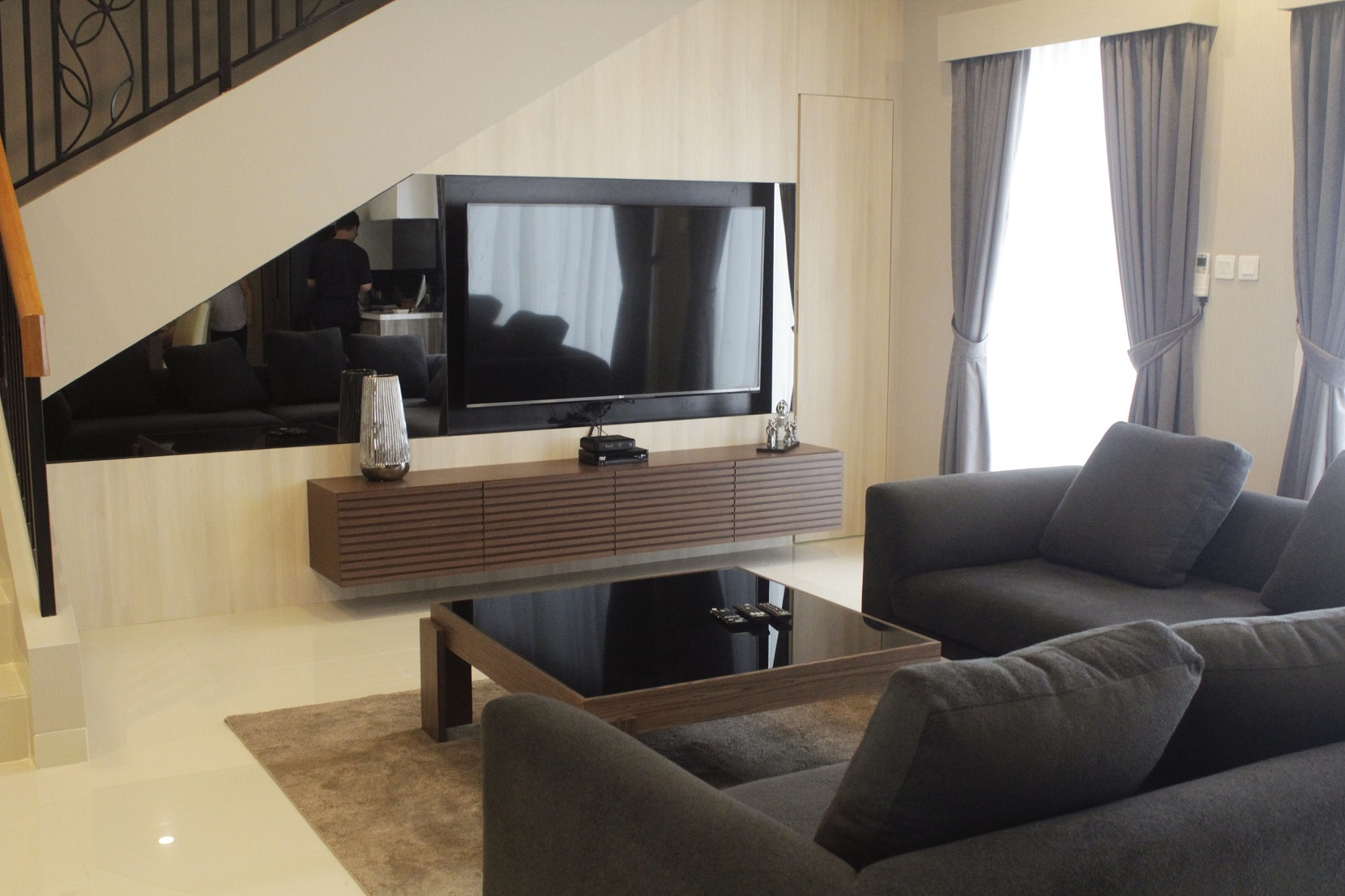 interior design of furniture. Modern-Contemporary Interior Design Concept By Using Wood Pattern \u0026 Black Mirror To Bring Elegant In The House. Of Furniture